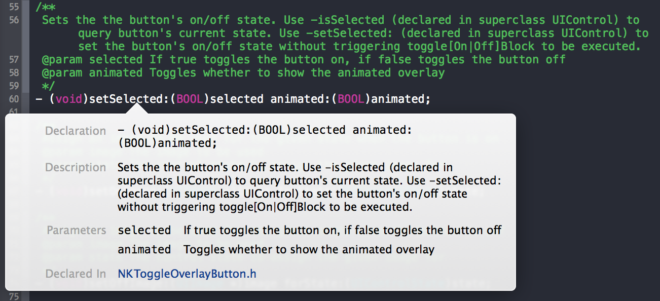 Doxygen comments shown in Xcode