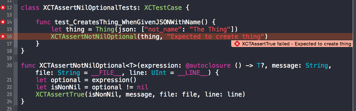Assertion failure is displayed by Xcode on the correct line of our code
