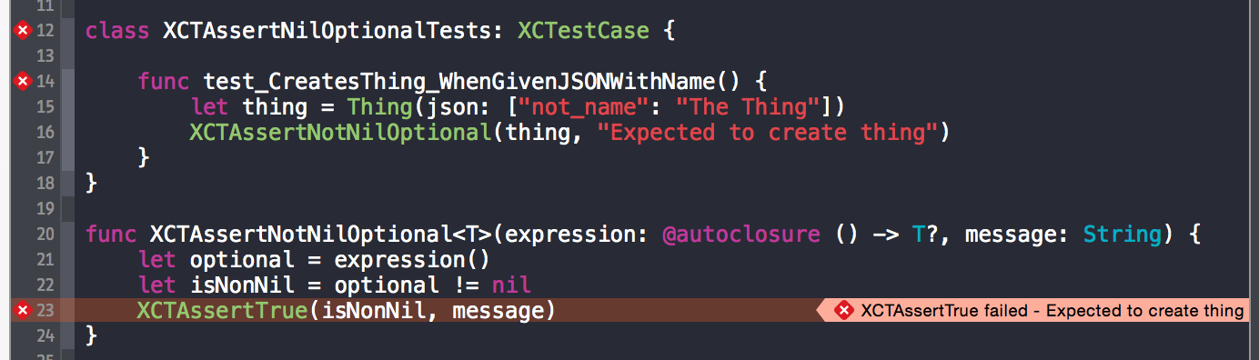 Assertion failure is displayed by Xcode on the wrong line of our code